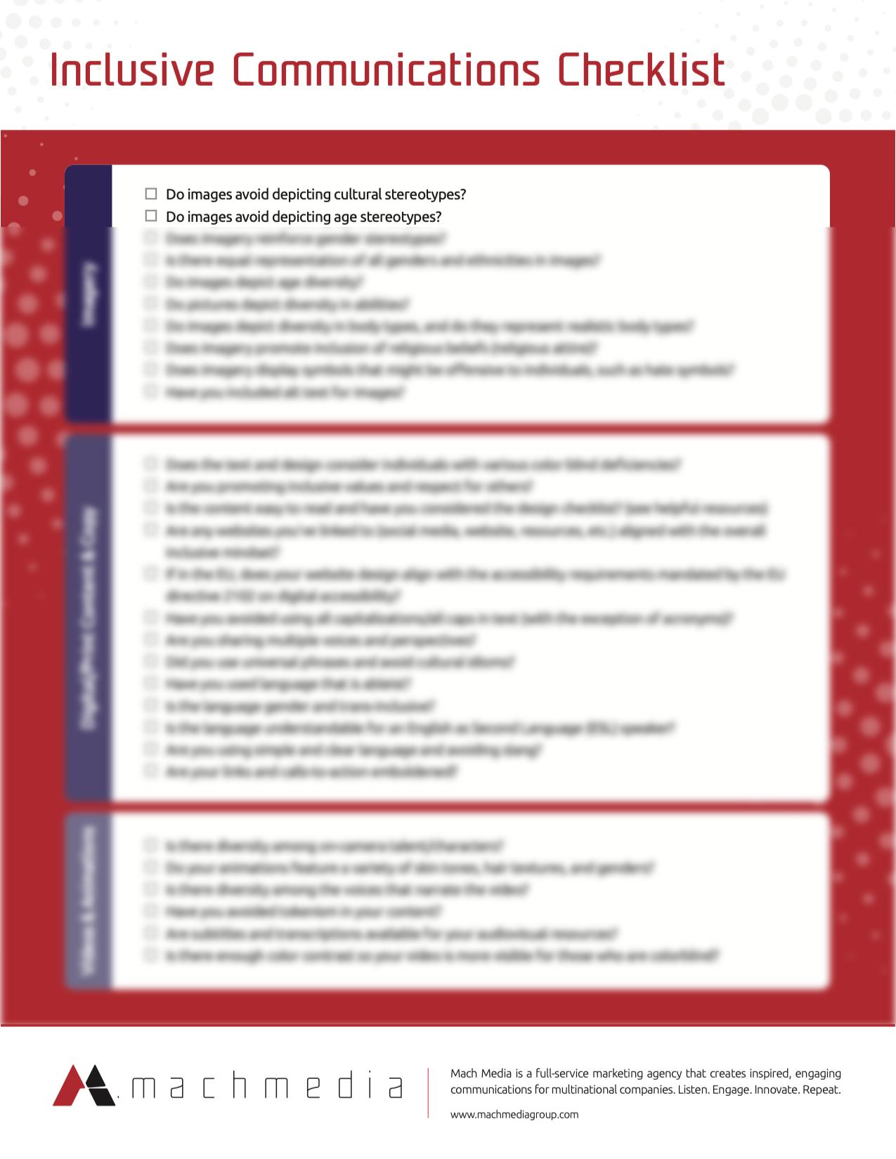 inclusive comms checklist blur